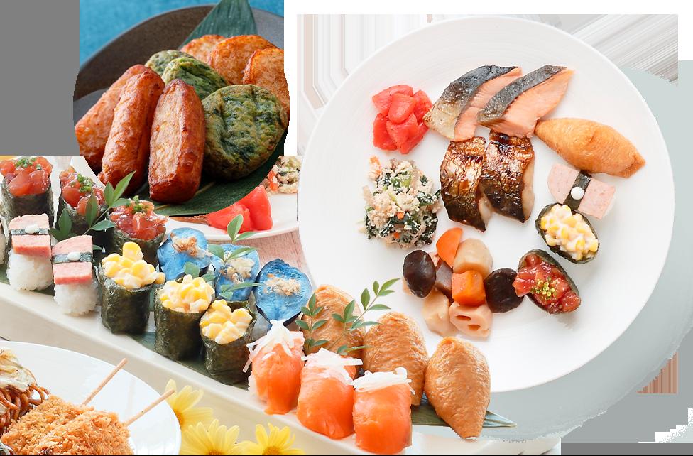 豊富な和朝食のおかずとお寿司